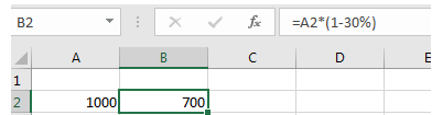 Soustraction des cellules de pourcentage d'un nombre