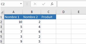 Multiplier les colonnes dans Excel