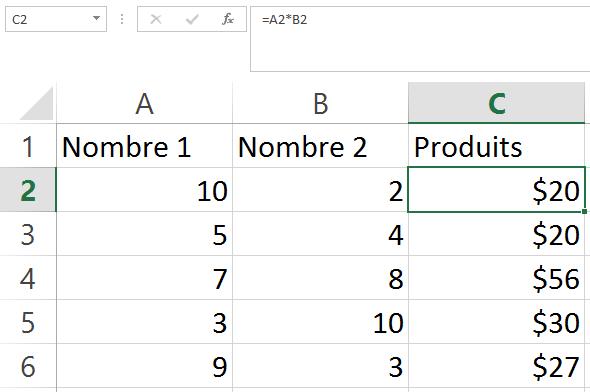 Multiplication des colonnes sans le sign